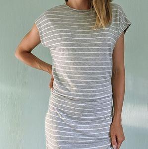 Anthropologie Press asymmetrical stripe dress L